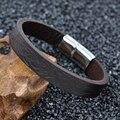 Homens Marca de moda Quente Pulseira Brown/Preto Pulseira Masculina Pulseira de Corda De Couro Pulseira de Aço Inoxidável Magnética Fechos Jóias LPS2009