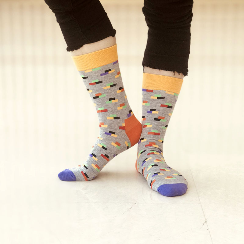 Large size EUR 42-46 cotton men crew socks Harajuku casual dress wedding Socks Colorful happy funny male Calcetines 3 pairs/lot
