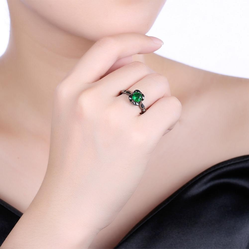 Trendy Black Gold Wedding Rings For Women Color White Purple Green ...