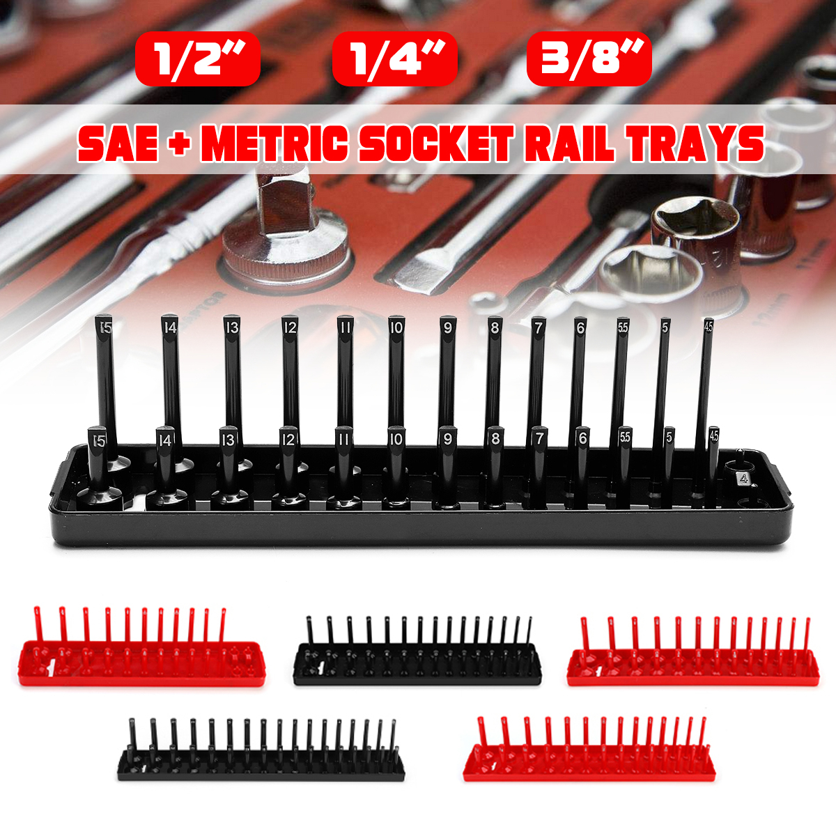 6Psc 1/4 3/8 1/2 SAE & Metric Socket Rail Trays Shelf 172-Slot Organizers Kit Plastic Black Red for Garage and Workshop Use 6psc top stage