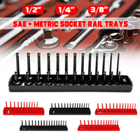 6Psc 1/4 3/8 1/2 SAE & Metric Socket Rail Trays Shelf 172 Slot Organizers Kit Plastic Black Red for Garage and Workshop Use