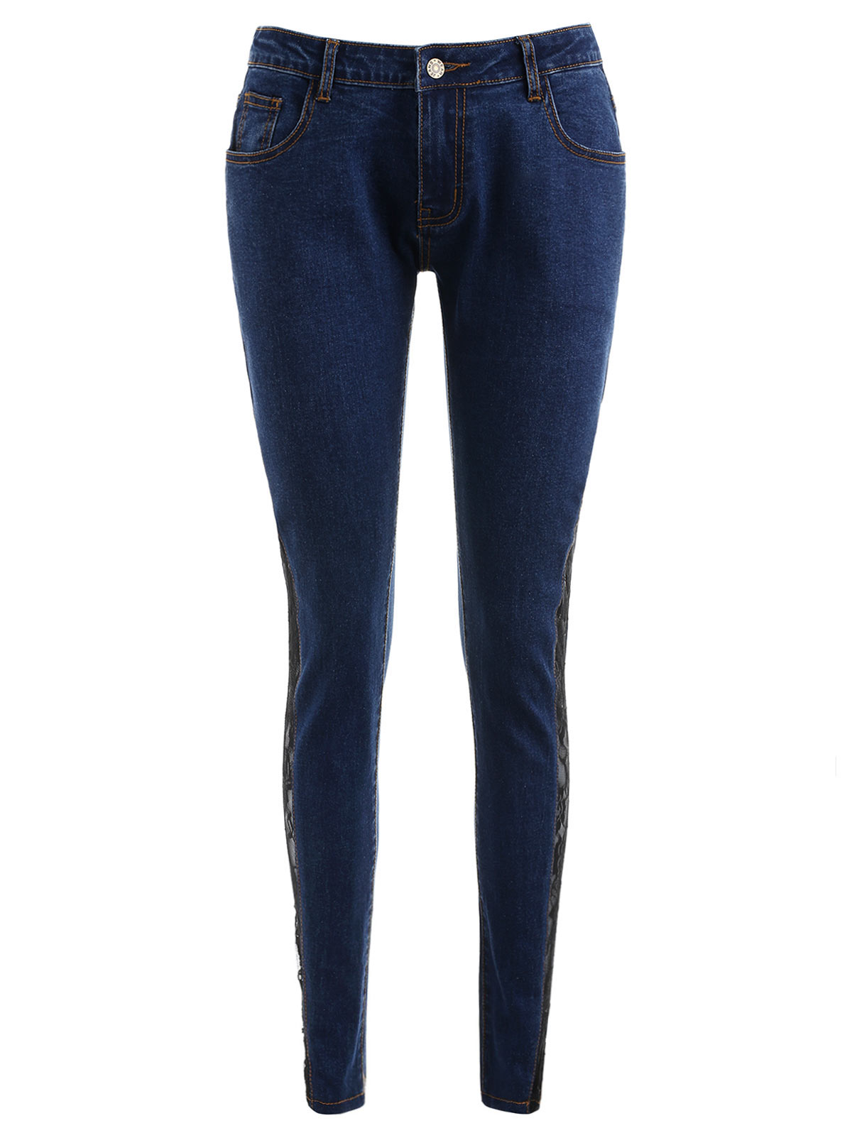 9231c4aca19 2019 Wipalo Women Jeans Plus Size Sheer Lace Side Low Waist Jeans Slim  Casual Skinny Lace Panel Pencil Denim See Through Pants From Chencloth66