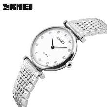 Для женщин Часы SKMEI Роскошные Кварц-часы женские часы Для женщин розовое золото горный хрусталь браслет Водонепроницаемый Часы Relogio Masculino