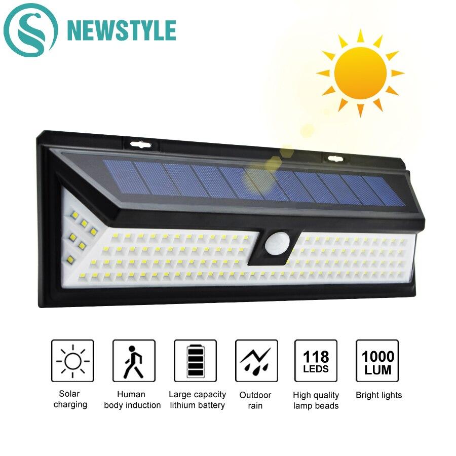 118 Led Solar Lampen Im Freien Wasserdichte Pir Motion Sensor Helle Solar Sicherheit Notfall Beleuchtung Garten Yard Wand Licht 3 Modi