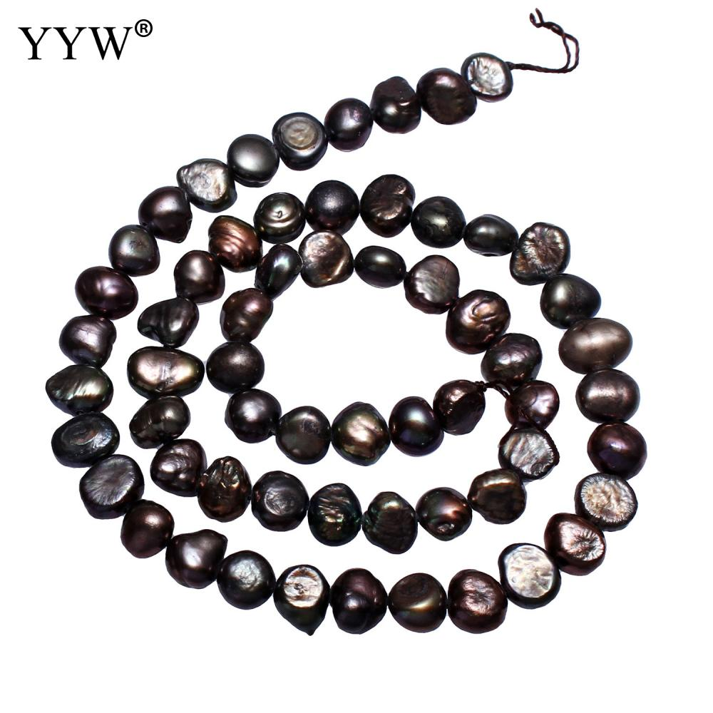 Cultured Baroque Freshwater Pearl Beads Nuggets Black 6-7mm Approx 0.8mm Sold Per Approx 14 Inch Strand for Handmade Jewelry