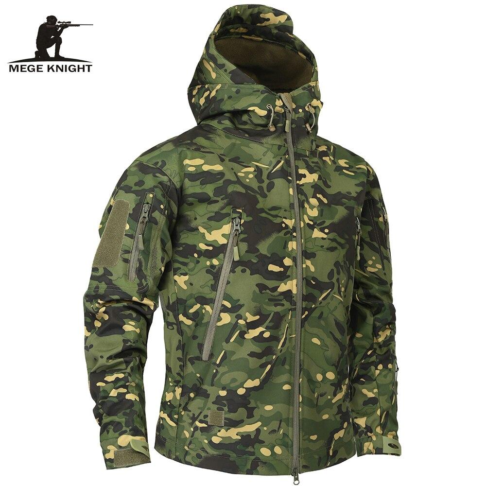 Mege брендовая одежда осень Для мужчин военный камуфляж флисовая куртка армия тактический Костюмы Мультикам Мужской камуфляж ветровки