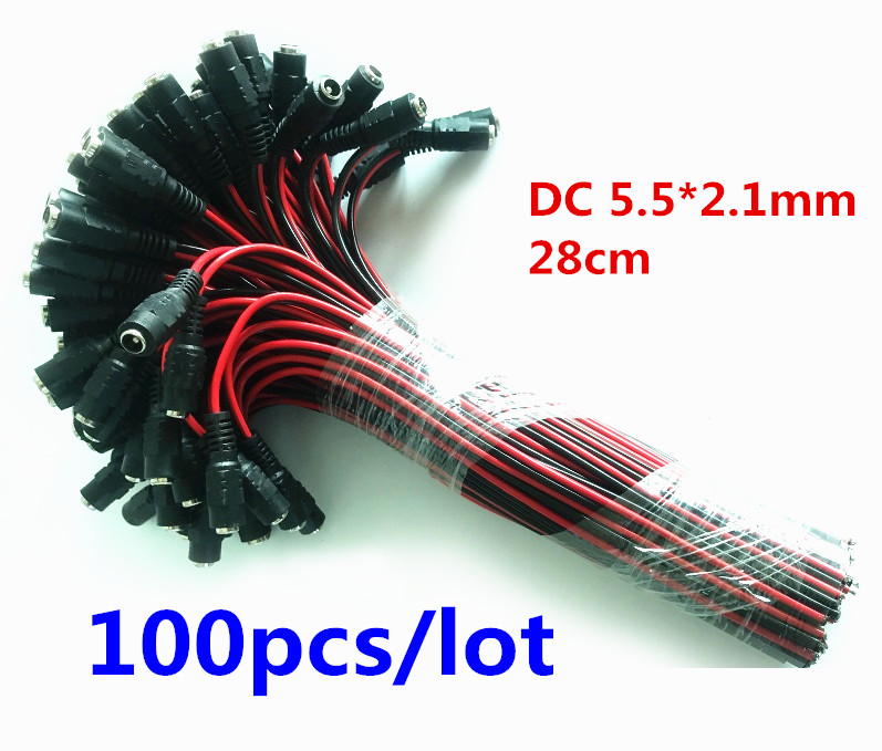 100pcs  12V DC Power Pigtail female 5.5*2.1mm Cable Plug Wire For CCTV Security