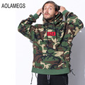 Aolamegs men oversized hoodies 424 hooded pullover fashion side hem ribbon design camo sweatshirt 2016 high streetwear clothing