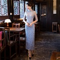 Shanghai Story Top Quality Half sleeve national trend Long chinese dress Lace cheongsam Qipao chinese traditional dress 2 Color