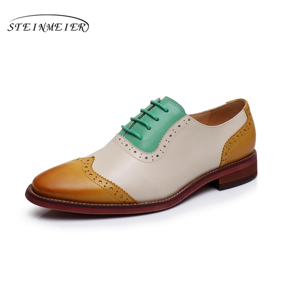 Фотография Women Genuine leather yinzo flat shoes round toe vintage handmade green sneakers oxford shoes for women 2017