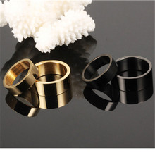 1PC Couple Ring Simple Black Gold Smooth Titanium Steel  US 5/6/7/8/9/10 Sizes For Women Men Jewelry