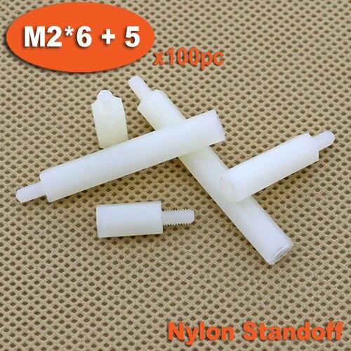100pcs Male To Female Thread M2 x 6mm + 5mm White Plastic Nylon Hexagon Hex Standoff Spacer Pillars