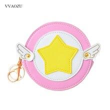 Card Captor Sakura Wallet Woman Cute Wings Coin Purse Sakura Kinomoto Design Purse Girls Small Money Bag Key Ring Change Pouch