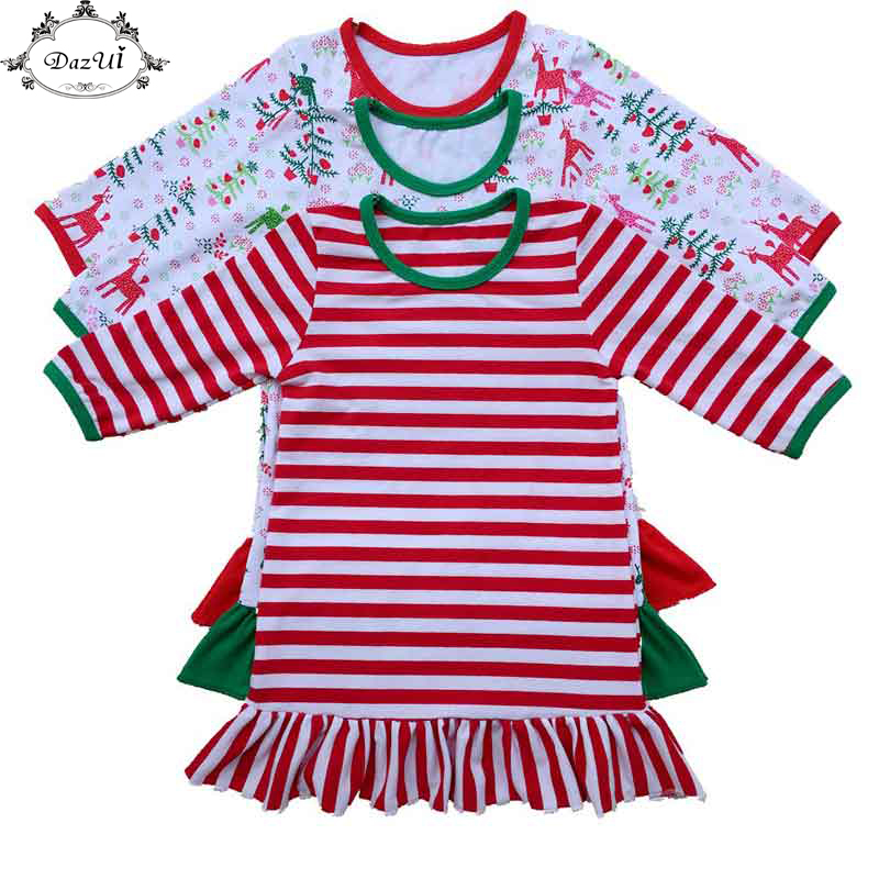Christmas Girls Dress Striped Ruffle Baby Girls Nightwear Long Sleeve Pajamas Dress Chrismtas Girls Clothing Nightgown