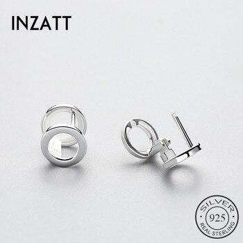 1f21ad1d9983 INZATT moda Real 925 Plata de Ley doble círculo aro pendientes Chic Punk  para las mujeres parte accesorios de moda joyería regalos