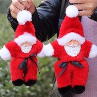 Real Genuine Rex Rabbit Santa Claus Furs Keychain Pendant Bag Car Charm Tag Cute Toy Doll Keychains