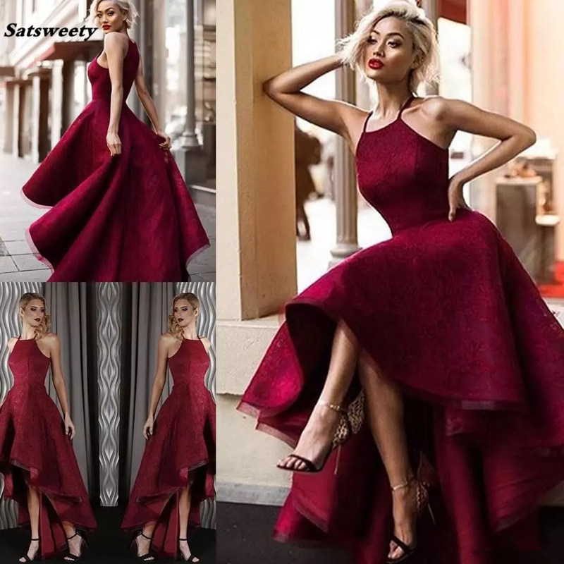 2019 High Low Halter Lace Backless Prom   Dresses   Gorgeous Sleeveless Vestidos De Fiesta Arabic Dubai Burgundy   Bridesmaid     Dresses