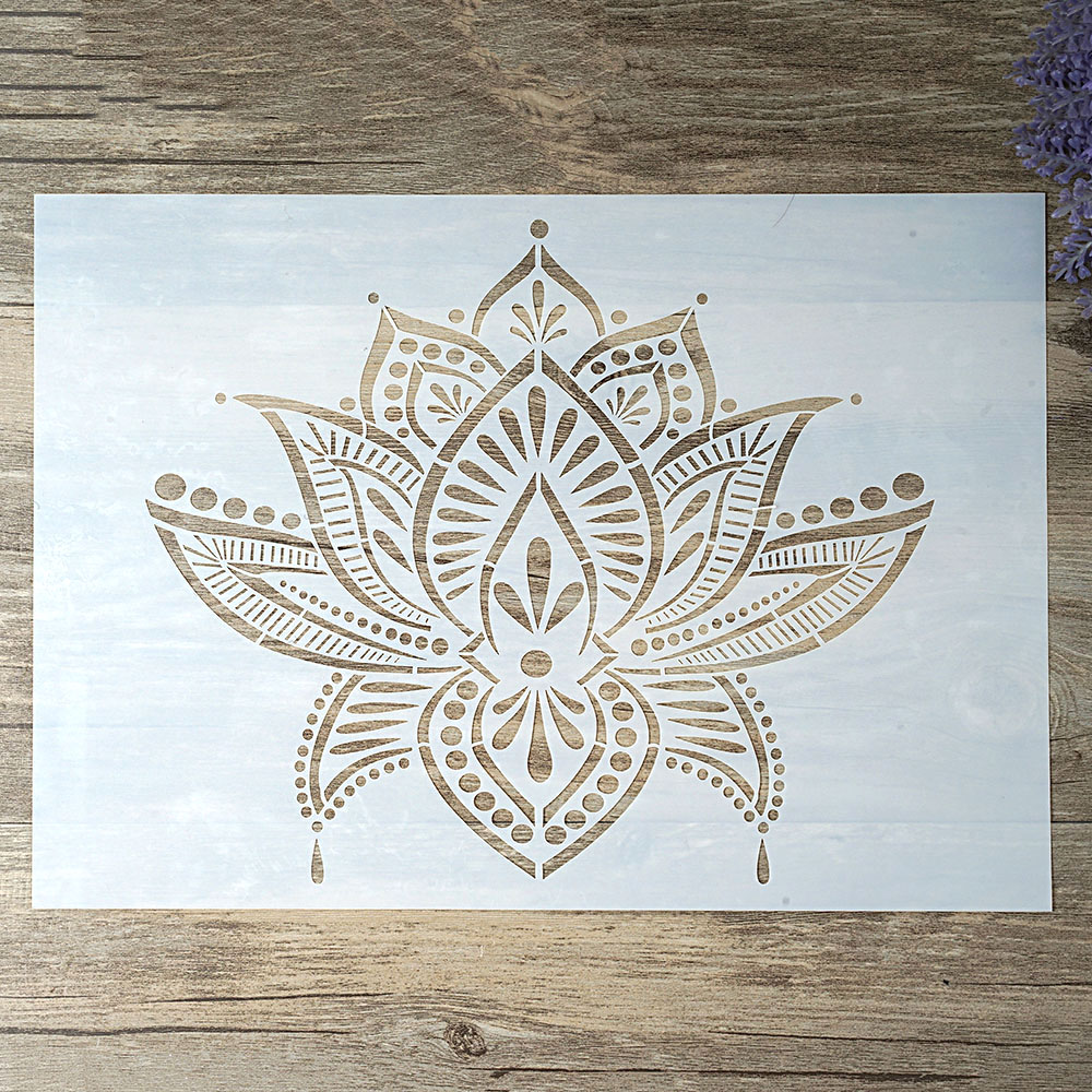 A4 A3 A2 Size DIY Craft Layering Lotus  Stencil For Wall Painting Scrapbooking Stamping Album Decorative Embossing Paper Card Cutting Dies    - AliExpress