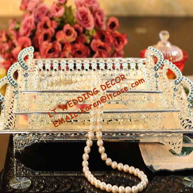 Hotel Large Metal Plate Silver Rectangle Serving cake Tray Party and ...