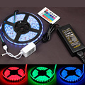 5M diode tape 5050 3528 SMD waterproof 60led /m LED Light Strip rgb led ribbon + 44 key remote controller+DC12v power adapter