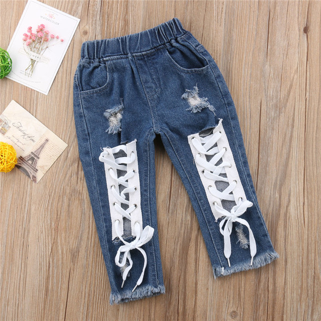 Fashion Kids Girls Denim Pants 2018 Toddler Baby Girls Boy Bandage Denim Pants Children Ripped Jeans Bottoms Long Trousers 1-6Y