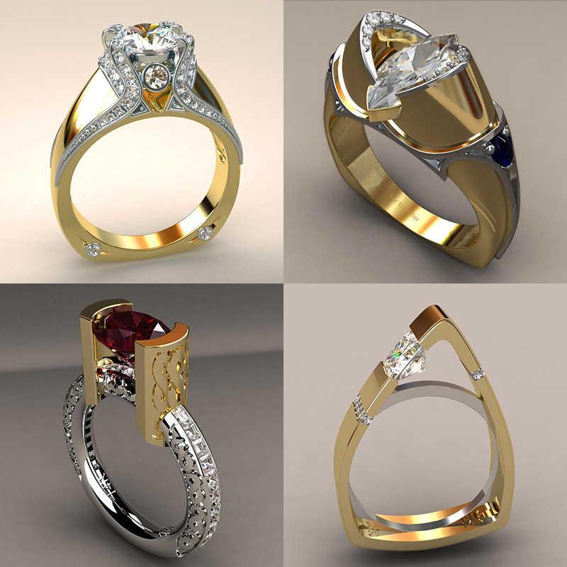 Vintage kobieta cyrkon kamienny pierścień unikalny styl kryształ srebrny złoty kolor obrączka obietnica obrączki dla kobiet