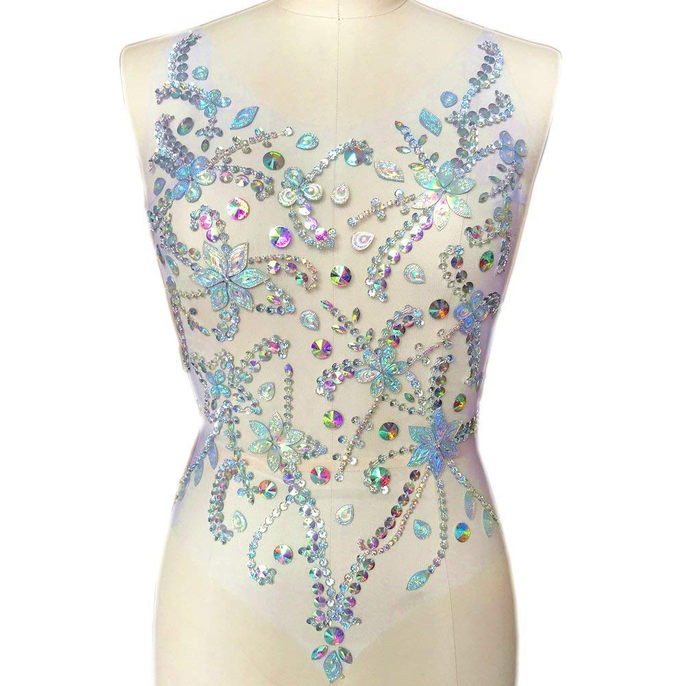 Fait à la main 36x54 cm Sequin coudre sur Strass cristaux Strass patchs appliques décorations bricolage pour robes de mariée vêtements coupe