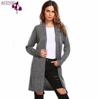 ACEVOG Women Cardigan Autumn Winter Casual Long Sleeve Hip Length Solid Bat Sleeve Ladies Sweater Open