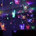 48 Светодиодов LED Бабочка светодиодов строка 315 СМ * 50 СМ 220В Водонепроницаемый Занавес праздник Огней Рождество новый год Гирлянды свадебный Декор UW