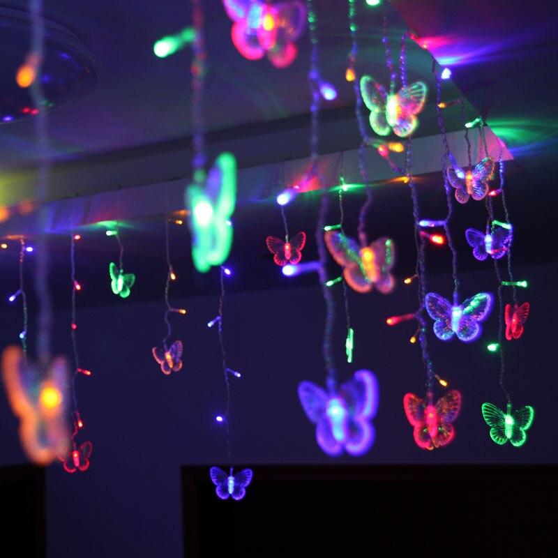 48 светодиоды LED Бабочка светодиод Строка 315 см * 50 см AC220V Водонепроницаемый Шторы Праздничные огни Рождество новый год гирлянда свадебный Декор uw