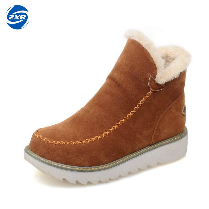 Zuoxiangru Big Size 34-43 Winter Snow Boots Women Ankle Boots 2017 Round Toe Platform Winter Shoes With Fur Woman Fur Shoes big size 34 43 winter russian women keep warm shoes 100% cow suede fur shoes flat with round toe solid ankle lady snow boots