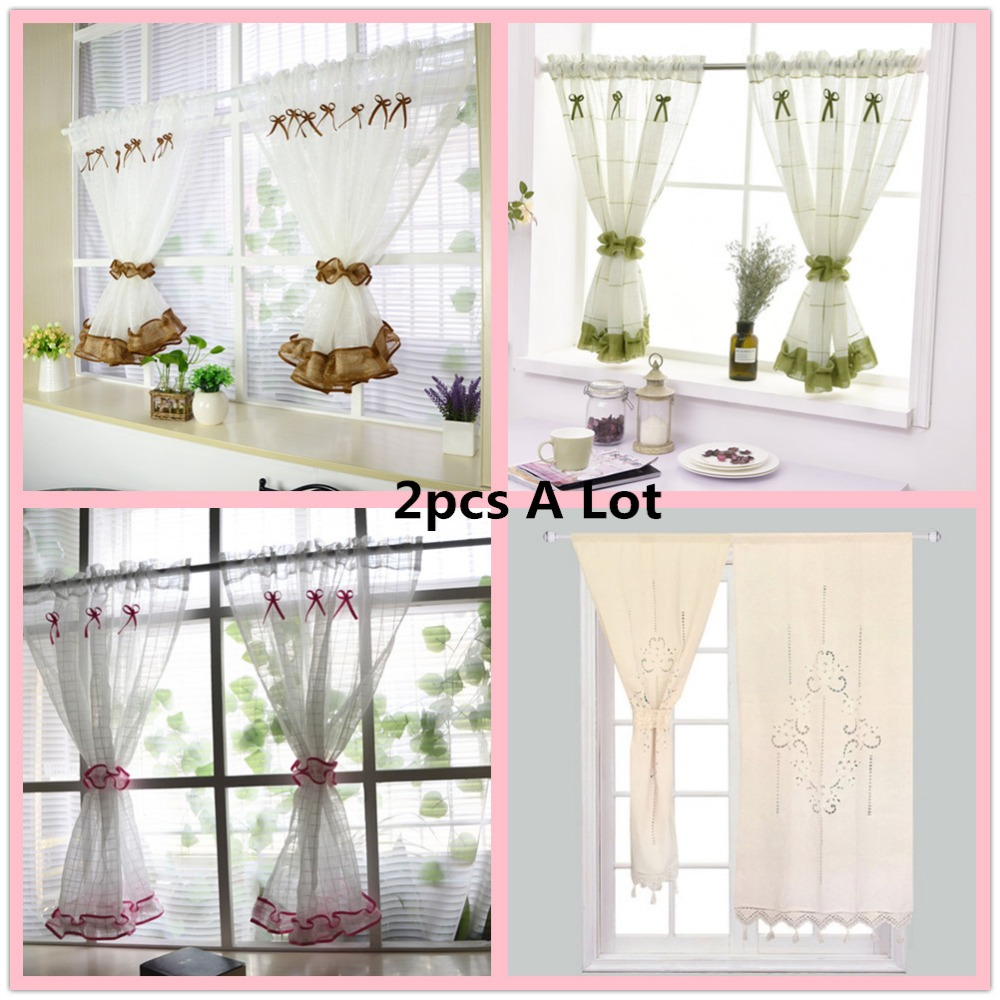 Kitchen Short Curtains Roman Blinds White Sheer Tulle: 2pcs ZHH White Roman Curtain Tulle Hot Sell Coffee Curtain