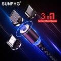 SUNPHG 3 в 1 Круглый Магнитный зарядный кабель Micro USB Type C  зарядный кабель для iPhone  Магнитный провод для зарядки телефона с разъемом Lightning