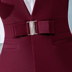 Image 5 - ملابس رسمية للنساء من Dushicolorful موضة 2019 للربيع والصيف ، ملابس رسمية للسيدات مكونة من قطعتين ، طقم زي موحد باللون الأسود