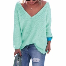 Autumn Winter Knitted Sweater Women V-neck Loose Sweater 2017 Solid Color Long Sleeve Casual Women Sweater and Pullover Tops