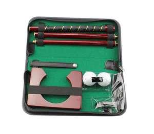 Image 1 - Hot Sale Portable Genuine Leather  Rose Wood Golf Putting Training Set