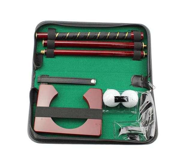 Hot Sale Portable Genuine Leather  Rose Wood Golf Putting Training Set
