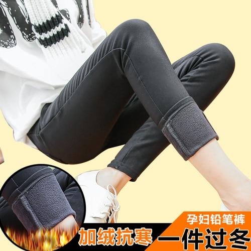 Gravida kvinnor leggings plus sammet penna förtjockning byxor gravida vinterbälten omger bukväxter Waichuan byxor