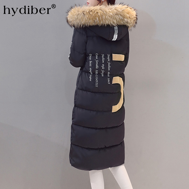 2016 Winter Coat Women Long Parkas Flocking Letter Patch Designs Real Fur Collar Hooded Cotton Padded Wadded Jackets Outerwear