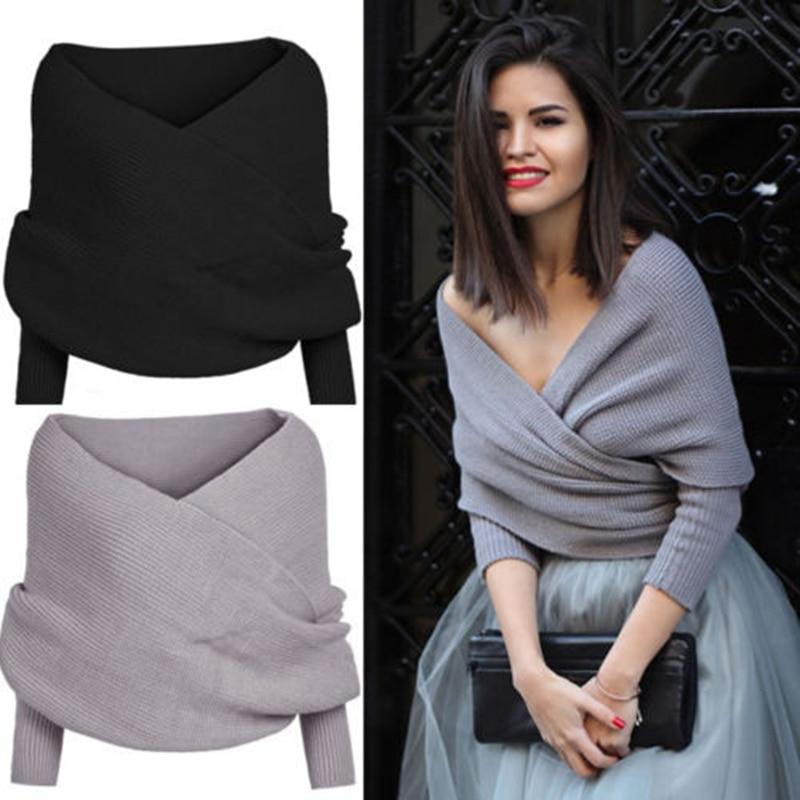 HOT Fashion Winter Women Long Sleeve Loose Solid Cross Knitted Sweater Jumper Knitwear Outwear Coat Women Clothing