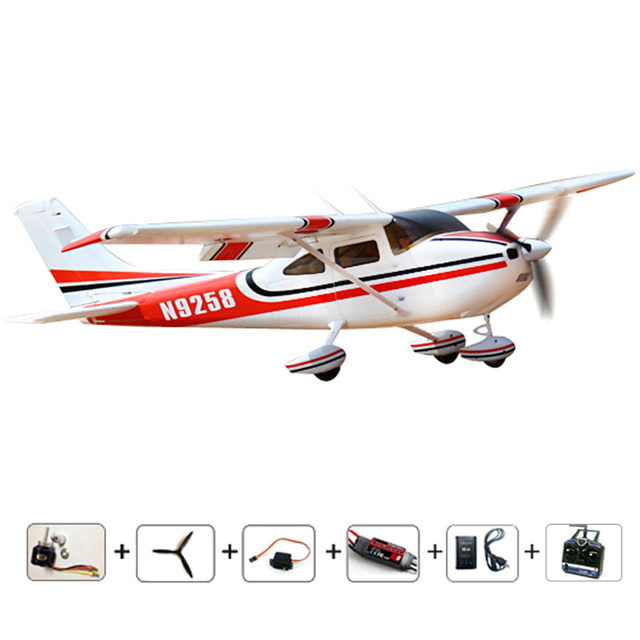 US $115 44 22% OFF|RC airplanes RC cessna 182 RTF radios RC Planes 2 4Ghz  6CH radios control airplane EPO fixed wing plane brushless Free shipping  -in