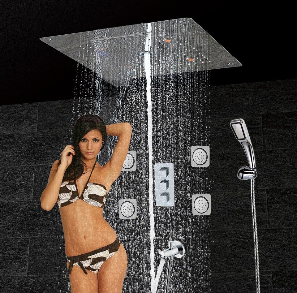 Bathroom Shower Set & LED Ceiling Shower Head & Brass Spout Thermostatic Inwall Panel Bath Shower Rain Waterfall Bubble CS5307