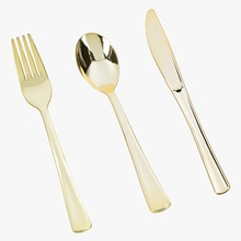 300pcs/lot Plastic Disposable Gold Wedding Cutlery Set 100 Knives 100Forks 100Spoons Flatware Sets Tableware As