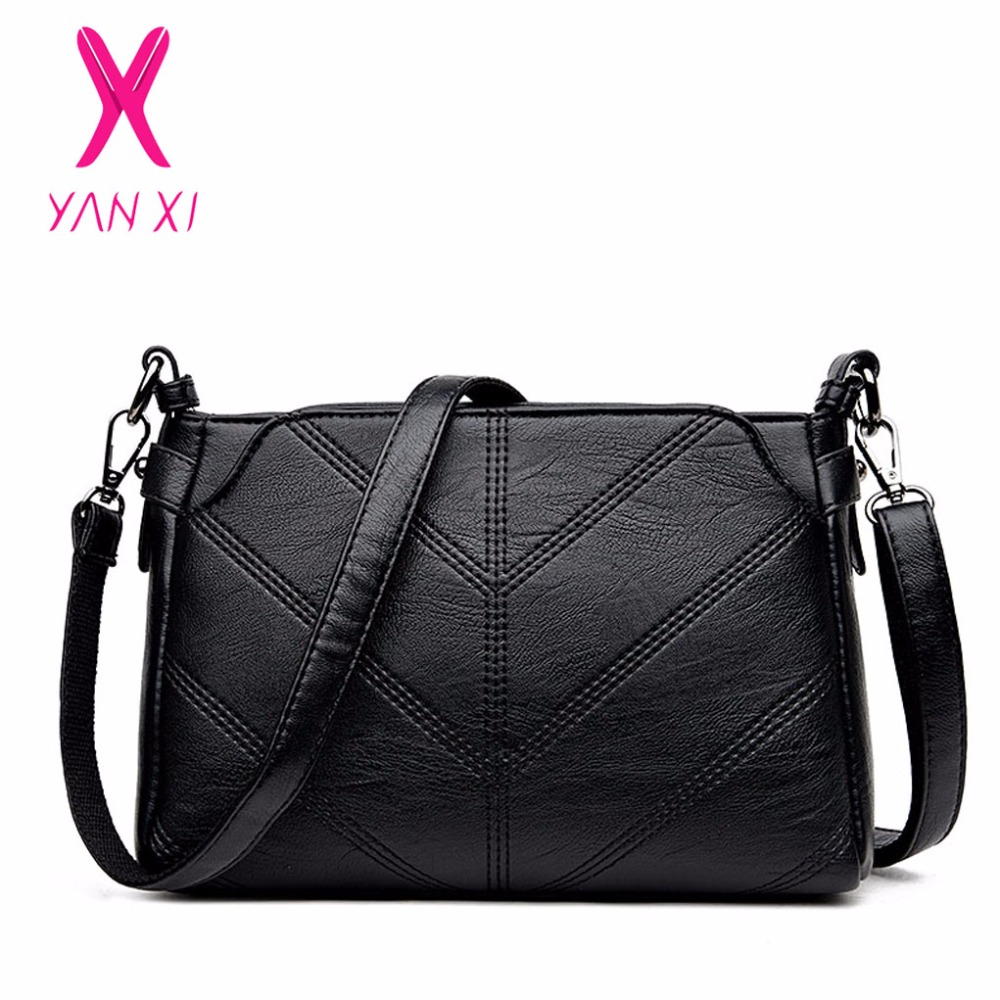 YANXI 2017 New Hot Sale Fashion Crossbody Tote Bag Black Messenger PU Leather Shoulderbag Luxury Handbags Women Bags Designer
