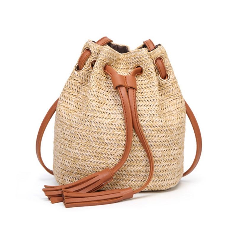 WILIAMGANU Woman Bag Tassel Small Bucket Crossbody Bag Summer Beach Straw Woven Bags Handbags Women Famous Brands Shoulder Bags