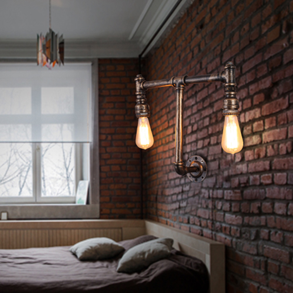 New Loft Industrial 2 lights iron rust Water pipe retro wall lamp Vintage e27 sconce lights for living room bedroom restaurant wheat breeding for rust resistance