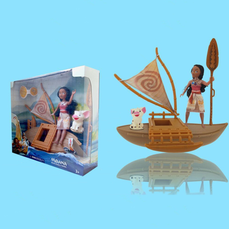 25cm Music Light Moana Action & Toy Figures Heihei Spotted Pig Boat Action Figures Toy Model Doll For Girls Kids Lover Gift 48pcs lot action figures toy stikeez sucker kids silicon toys minifigures capsule children gift