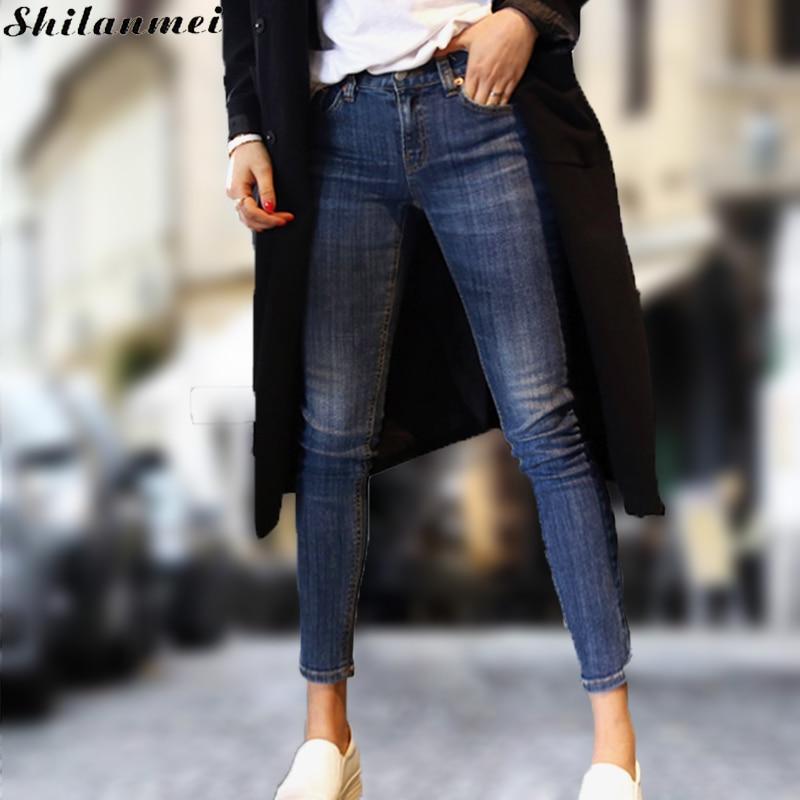 New Vintage Skinny Jeans Woman Denim rise pantalon femme jeans balmai frayed blue distressed ripped slim fit Jeans Feminino 2017 цена