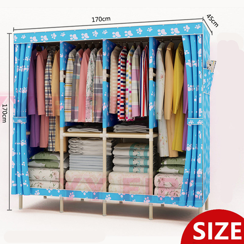 (L170XH170X45cm) Four Rows OF Increased Wood Wardrobe Oxford Cloth Fold Portable Storage Cabinet