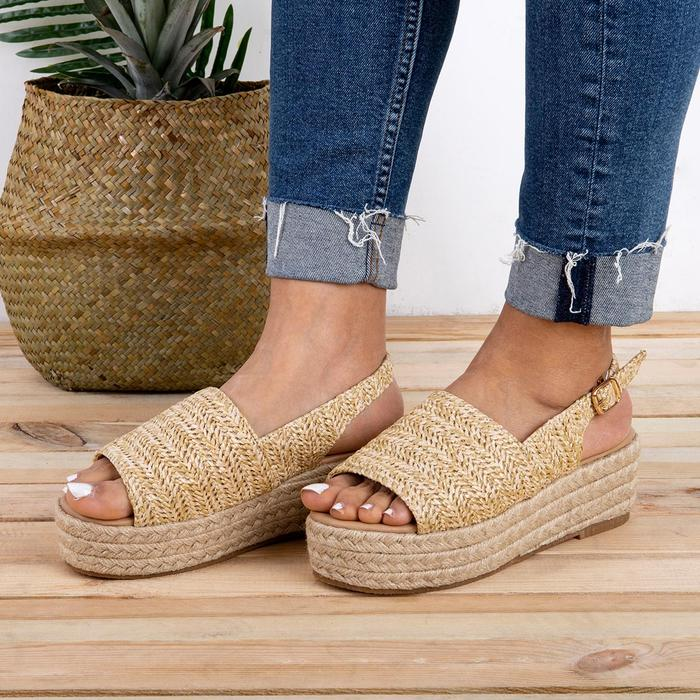 HEFLASHOR Wedges Sandals Shoes Women Heels Hemp Plus-Size Torridity for Zapatos Mujer